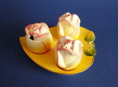 Vintage Royal Winton Yellow 'Rosebud' Salt, Pepper and Mustard Condiment Set c1950